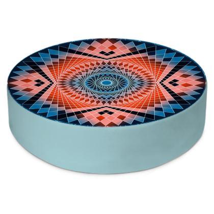 Round Floor Cushions Blue Red Mandala