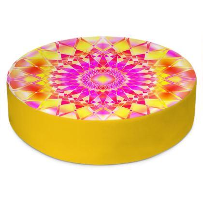 Round Floor Cushions Yellow Mandala