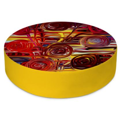 Round Floor Cushions Spiral Roses
