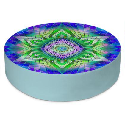 Round Floor Cushions Green Snowflake 2