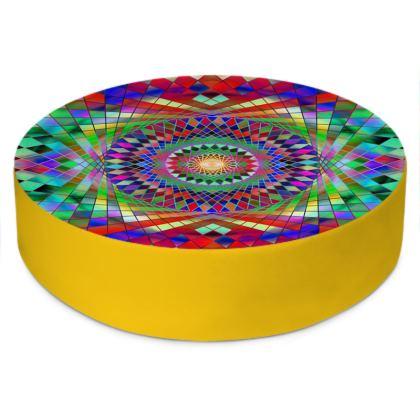 Round Floor Cushions Rainbow Mandala