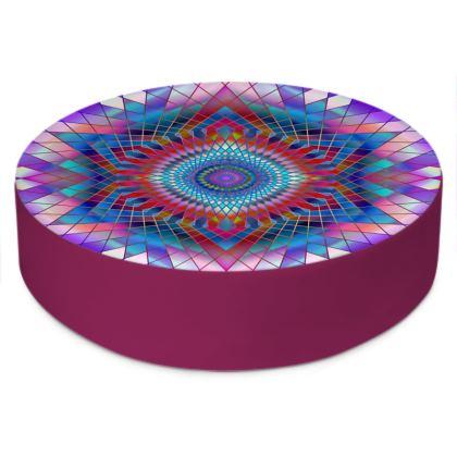 Round Floor Cushions Purple Snowflake