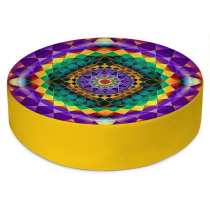 Round Floor Cushions Purple Green Mandala