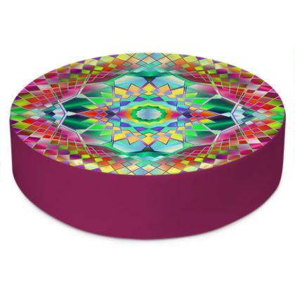 Round Floor Cushions Green Mandala