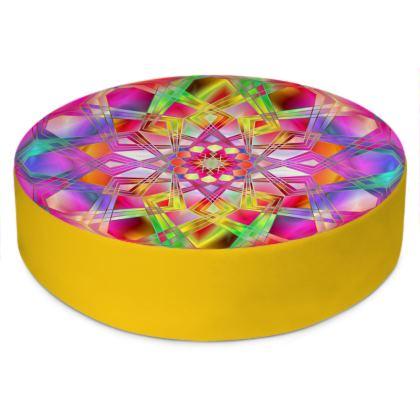 Round Floor Cushions Pink Mandala