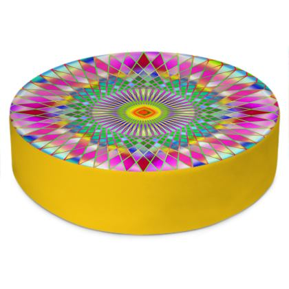 Round Floor Cushions Rainbow Mandala 2