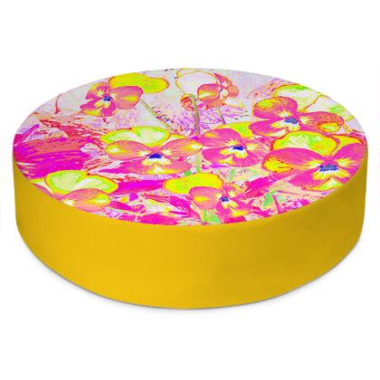 Round Floor Cushions Pink Violets