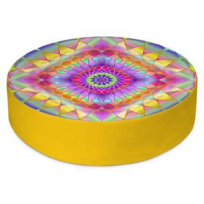 Round Floor Cushions Rainbow Mandala 4