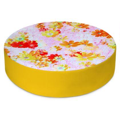 Round Floor Cushions Cosmos Flowers