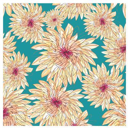 Luxury Cushion: Gerberas on Jade