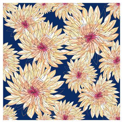 Luxury Cushion: Gerberas on Navy