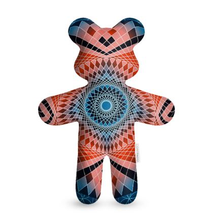 Teddy Bear Blue Red Mandala