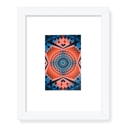 Framed Art Prints Blue Red Mandala