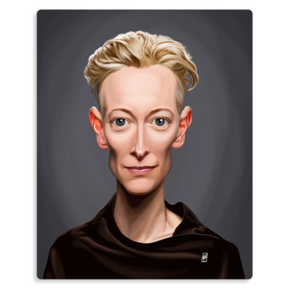 Tilda Swinton Celebrity Caricature Metal Print