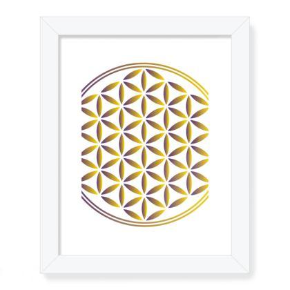 Framed Art Prints Gold Flower Of Life