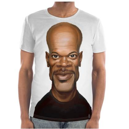 Samuel L Jackson Celebrity Caricature Cut and Sew T Shirt