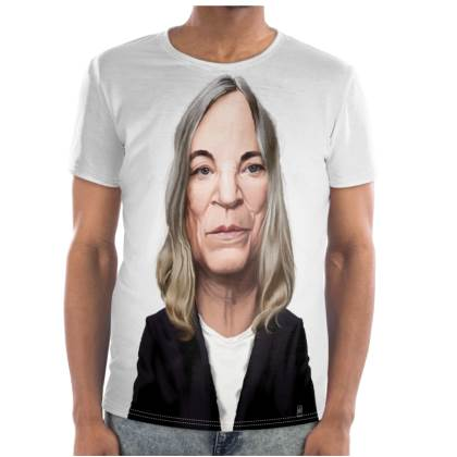 Patti Smith Celebrity Caricature Cut and Sew T Shirt