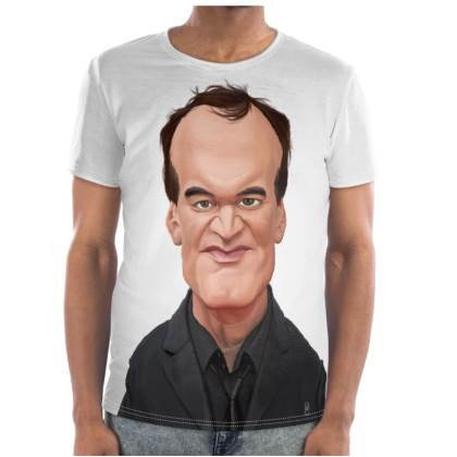 Quentin Tarantino Celebrity Caricature Cut and Sew T Shirt