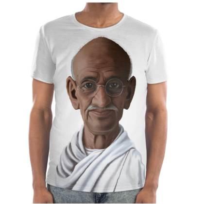 Mahatma Gandhi Celebrity Caricature Cut and Sew T Shirt