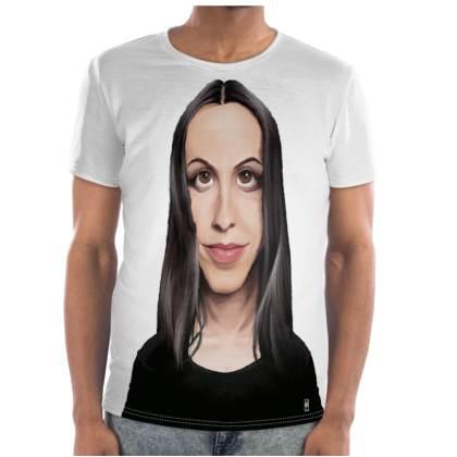 Alanis Maorissette Celebrity Caricature Cut and Sew T Shirt