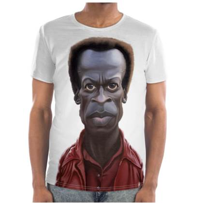 Miles Davis Celebrity Caricature Cut and Sew T Shirt