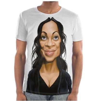 Rosario Dawson Celebrity Caricature Cut and Sew T Shirt