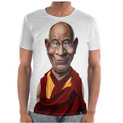 Dalai Lama Celebrity Caricature Cut and Sew T Shirt