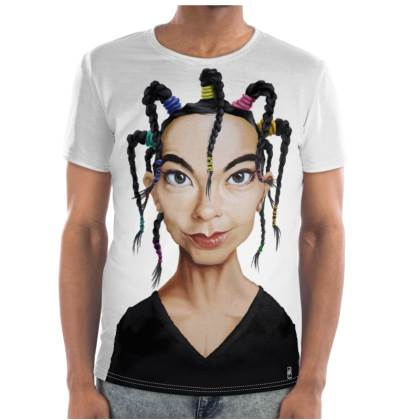 Björk Celebrity Caricature Cut and Sew T Shirt