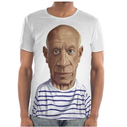 Pablo Picasso Celebrity Caricature Cut and Sew T Shirt