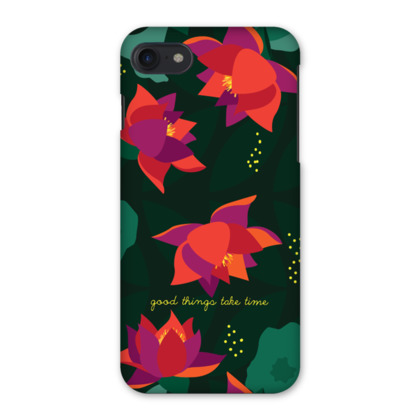 Midnight Flowers inspirational quote Green - iPhone 7 Case