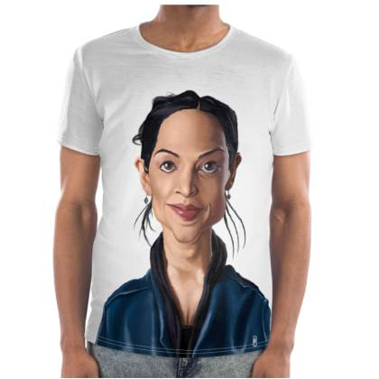 Archie Panjabi Celebrity Caricature Cut and Sew T Shirt