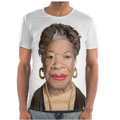 Maya Angelou Celebrity Caricature Cut and Sew T Shirt