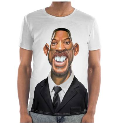 Will Smith Celebrity Caricature Cut and Sew T Shirt