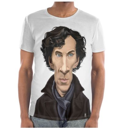 Benedict Cumberbatch Celebrity Caricature Cut and Sew T Shirt