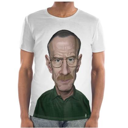 Bryan Cranston Celebrity Caricature Cut and Sew T Shirt