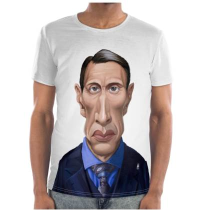 Mads Mikkelsen Celebrity Caricature Cut and Sew T Shirt