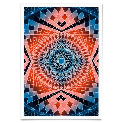 Paper Posters Blue Red Mandala