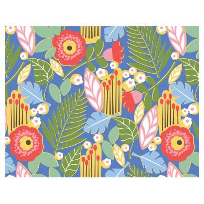 Paradise House Tropical Floral Blue Handbags