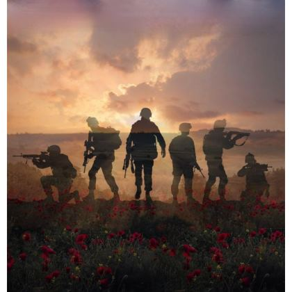 Coaster, Soldiers in a field of poppies