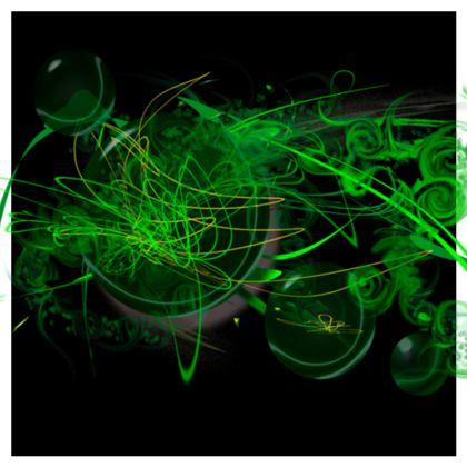 Cushion - Kudde - Green Caos black