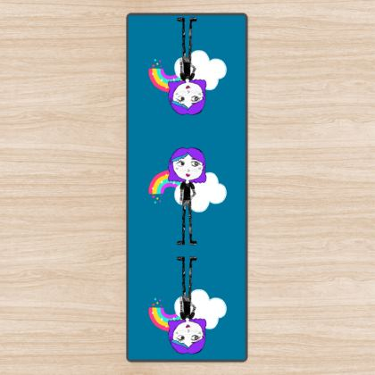 Up to the Rainbow girl Yoga Mat by Elisavet