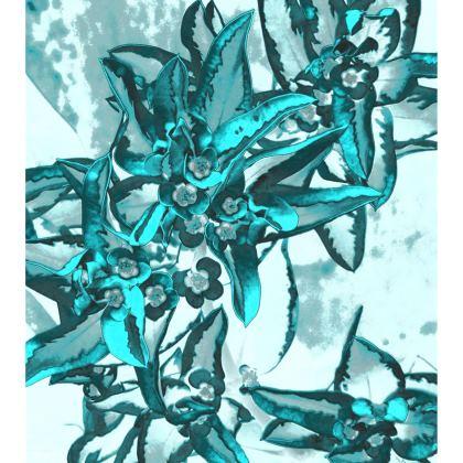Ladies T-Shirt Turquoise Flowers