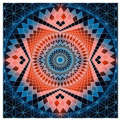 Ladies T Shirt Blue Red Mandala