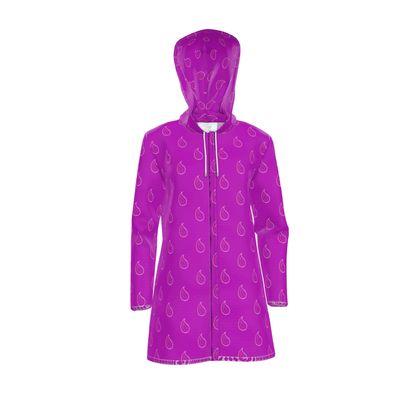 Paisley Drops On Purple Womens Hooded Rain Mac