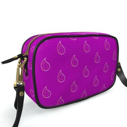 Paisley Drops on purple Camera Bag