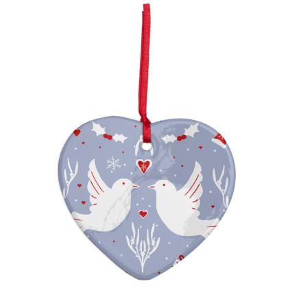 Two Turtle Doves Hearts Ornament