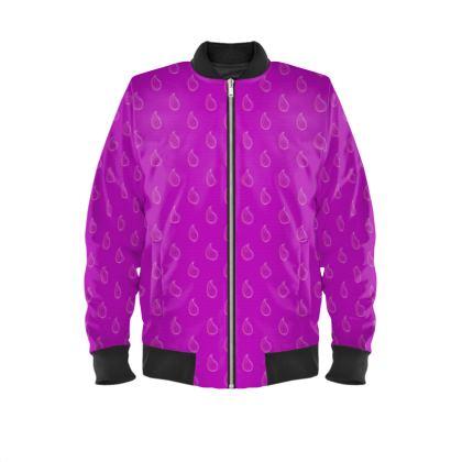Paisley Drops on purple Ladies Bomber Jacket