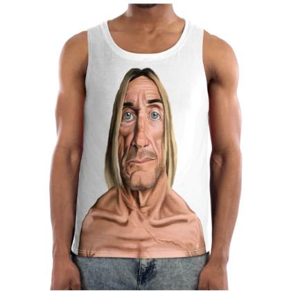 Iggy Pop Celebrity Caricature Cut and Sew Vest