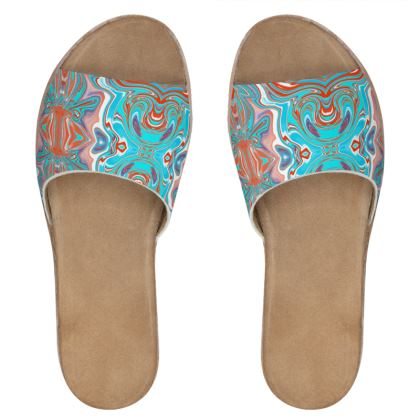 Women's Leather Slip-On Sandals in Digital Batik