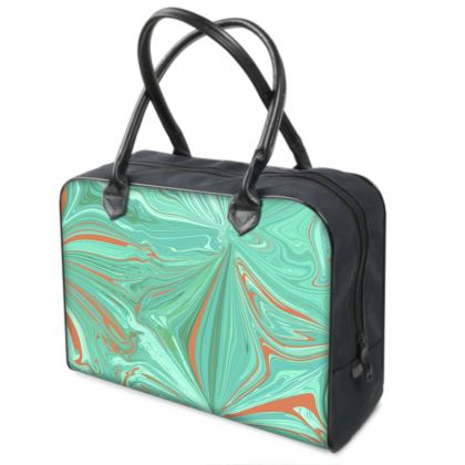 Luxury Leather Hold-all with Digital Batik Design